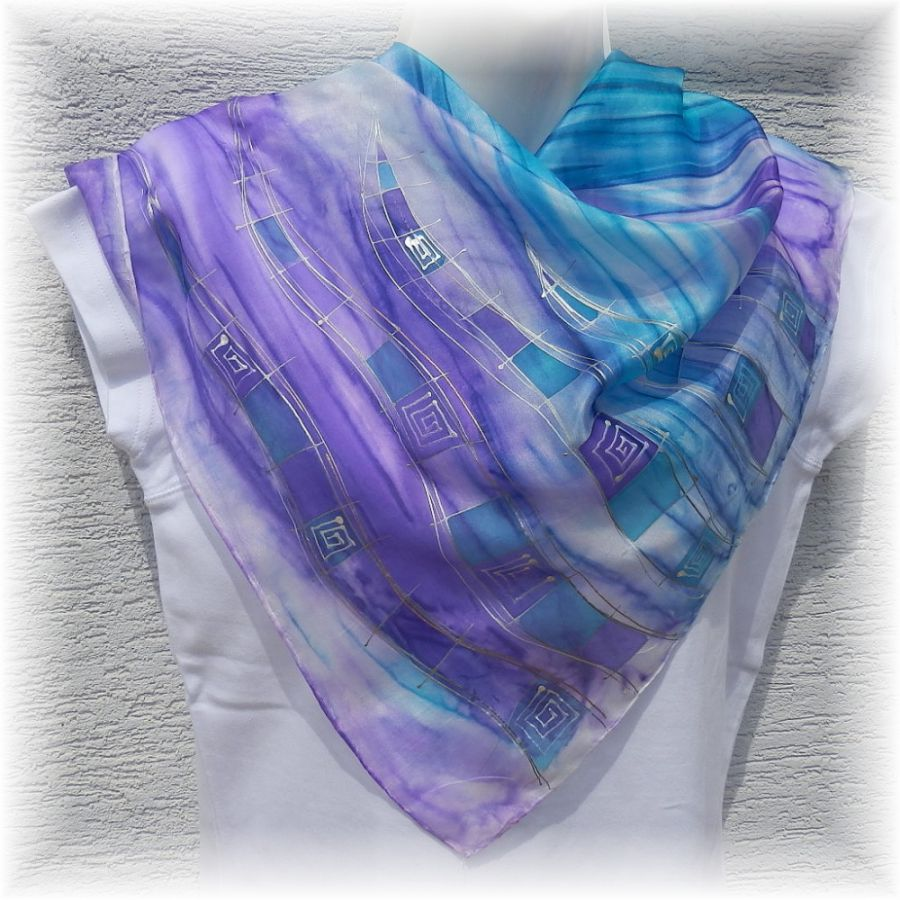 Hedvábný šátek 2 v 1 - Let vážky 2 Batitex - malovaná, batikovaná trička, mikiny, šátky, šály, kravaty