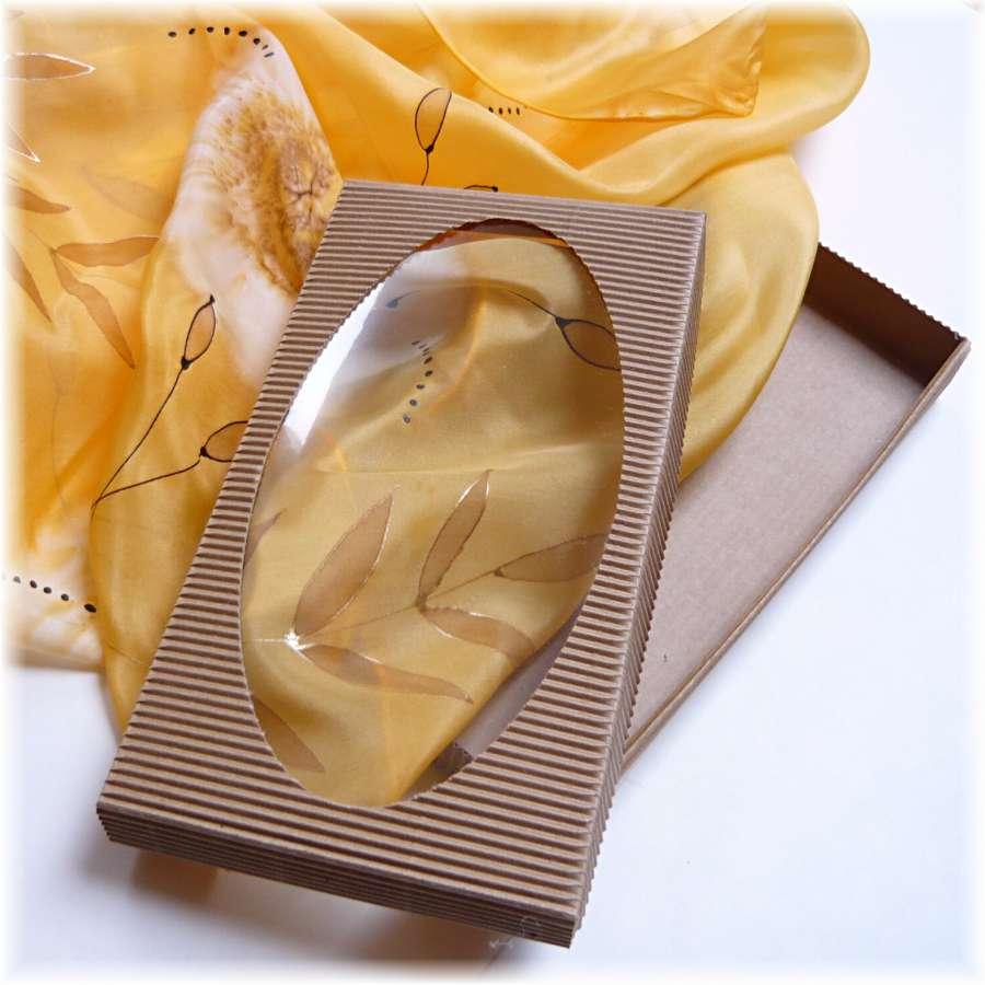 Dárková krabička pro šátky, šály - Přírodní Batitex - malovaná, batikovaná trička, mikiny, hedvábné šátky, šály, kravaty
