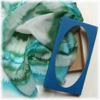 Dárková krabička pro šátky, šály s průhledným víkem  - Modrá