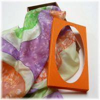 Dárková krabička pro šátky, šály s průhledným víkem  - Oranžová
