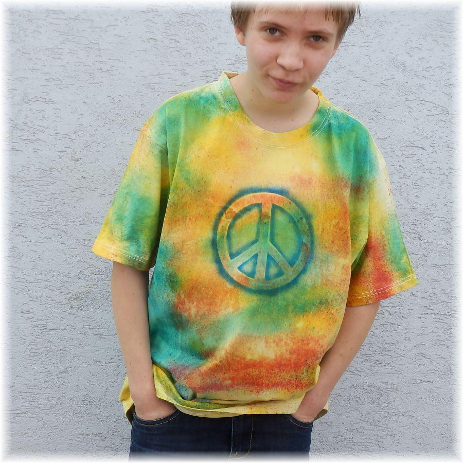 Pánské batikované tričko - Happy... Batitex - malovaná, batikovaná trička, mikiny, šátky, šály, kravaty