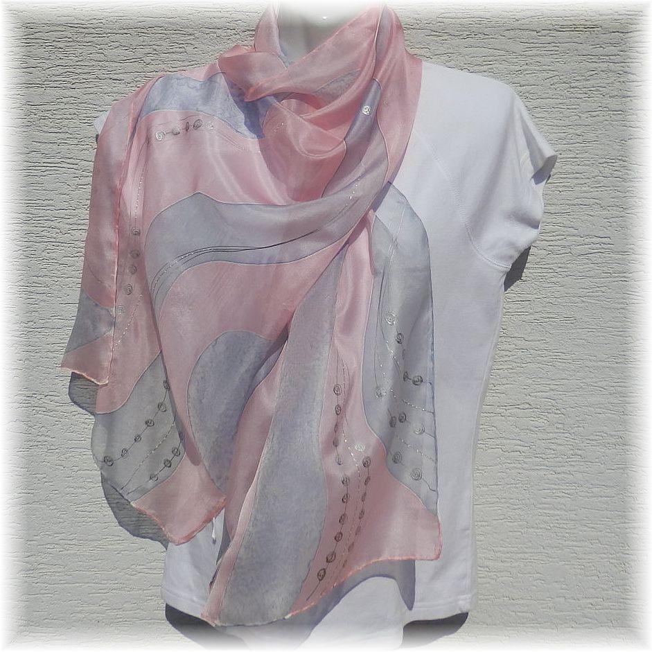 Hedvábná šál - Holubí šeď 2 Batitex - modní trička, šály, šátky