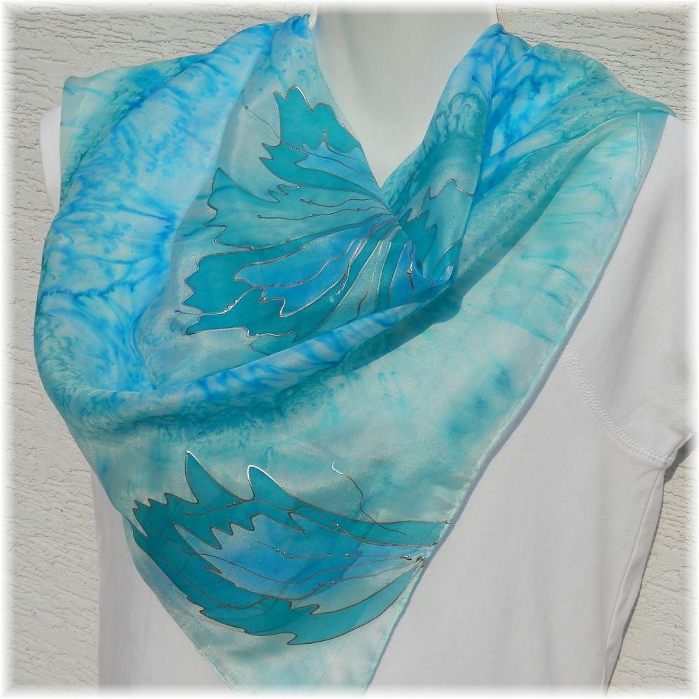 Hedvábný malovaný šátek - Rosa 2 Batitex - malovaná, batikovaná trička, mikiny, šátky, šály, kravaty