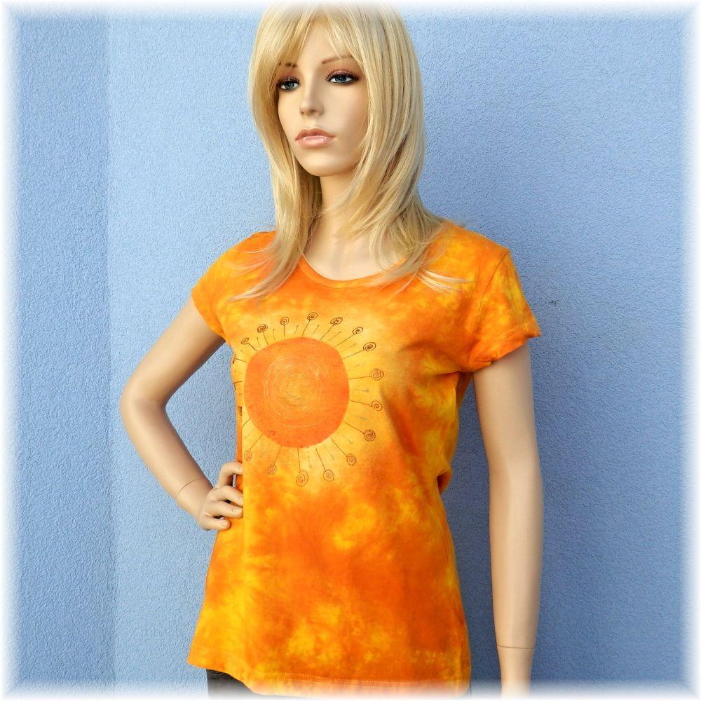 Batikované dámské tričko - Lážo plážo Batitex - malovaná trička, mikiny, šátky, šály