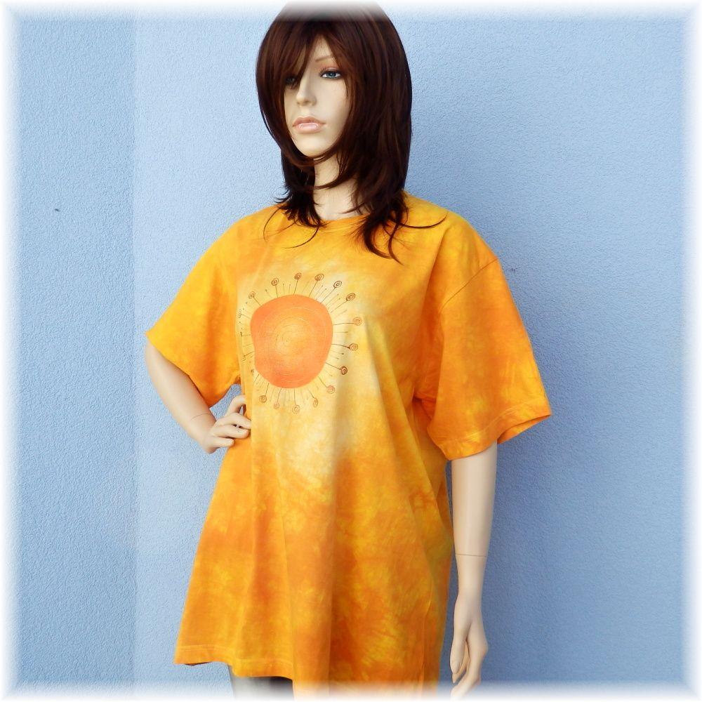 Dámské batikované a malované maxi tričko - Lážo plážo Batitex - malovaná, batikovaná trička, mikiny, šátky, šály, kravaty