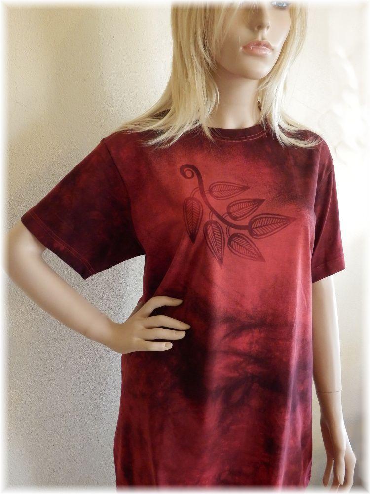 Dámské batikované a malované maxi tričko - Rumělka jara Batitex - malovaná, batikovaná trička, mikiny, šátky, šály, kravaty