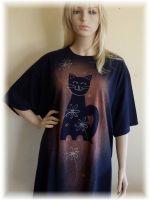 Dámské malované maxi tričko - Návrat kočky