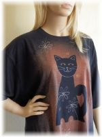 Dámské malované maxi tričko - Návrat kočky Batitex - malovaná, batikovaná trička, mikiny, šátky, šály, kravaty
