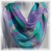 Hedvábný malovaný šátek - Levandulová