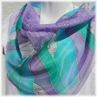 Hedvábný malovaný šátek - Levandulová Batitex - malovaná, batikovaná trička, mikiny, šátky, šály, kravaty