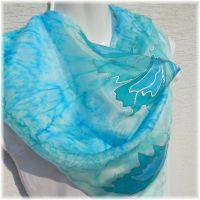 Hedvábný malovaný šátek - Rosa Batitex - malovaná, batikovaná trička, mikiny, šátky, šály, kravaty