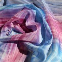 Hedvábný malovaný šátek - Švestková 2 Batitex - malovaná, batikovaná trička, mikiny, šátky, šály, kravaty