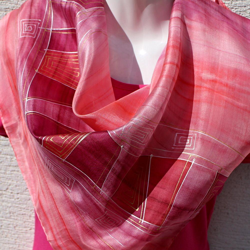 Hedvábný šátek 2v1 - Hadí žena Batitex - malovaná, batikovaná trička, mikiny, šátky, šály, kravaty