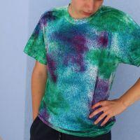 Pánské batikované tričko - Pyšný páv