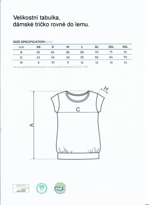 Velikostní tabulka, dámské tričko rovné, do lemu.