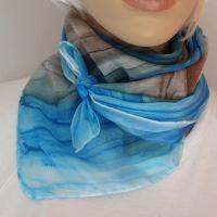 Hedvábný malovaný šátek - Nebe a země 2 Batitex - modní trička, mikiny, šátky, šály, kravaty