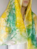 Hedvábná malovaná šála - Pampeliškový průvod 2 Batitex - malovaná, batikovaná trička, mikiny, hedvábné šátky, šály, kravaty
