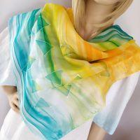 Hedvábný malovaný šátek - Střípky spektra 2 Batitex - malovaná, batikovaná trička, mikiny, hedvábné šátky, šály, kravaty