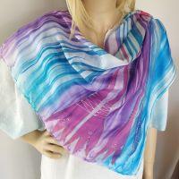 Hedvábný malovaný šátek 2 v 1 - Krásná tajemná 2 Batitex - malovaná, batikovaná trička, mikiny, hedvábné šátky, šály, kravaty