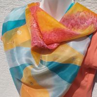 Hedvábný šátek 2 v 1 - Tropická kráska 2 Batitex - malovaná, batikovaná trička, šaty, mikiny, šátky, šály, kravaty