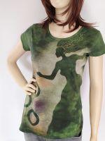 Batikované a malované tričko - Když příroda čaruje