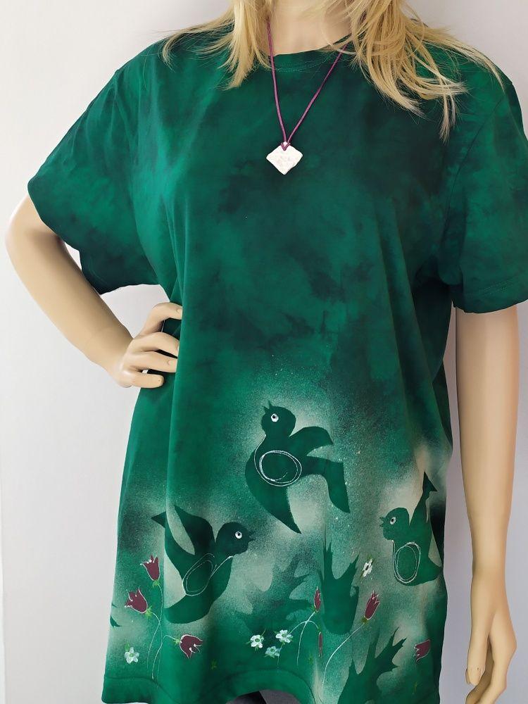 Dámské batikované maxi tričko - Jarní švitoření Batitex - malovaná, batikovaná trička, mikiny, hedvábné šátky, šály, kravaty