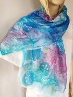 Hedvábná malovaná šála - Hnízdečka jara Batitex - malovaná, batikovaná trička, mikiny, hedvábné šátky, šály, kravaty