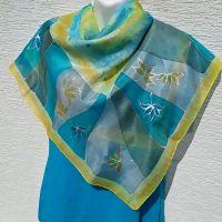 Hedvábný malovaný šátek - V odlesku tůně Batitex - malovaná, batikovaná trička, šaty, mikiny, šátky, šály, kravaty