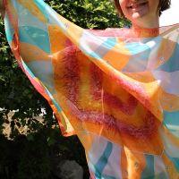 Hedvábný šátek - Tropická kráska Batitex - malovaná, batikovaná trička, šaty, mikiny, šátky, šály, kravaty