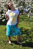 Malované batikované šaty- Citronáda