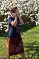 Malované batikované šaty- Kočičí šaty