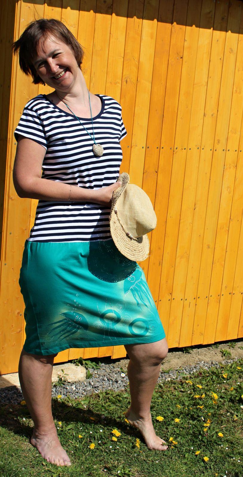 Malované, batikované šaty - Mořský svět Batitex - malovaná, batikovaná trička, šaty, mikiny, šátky, šály, kravaty