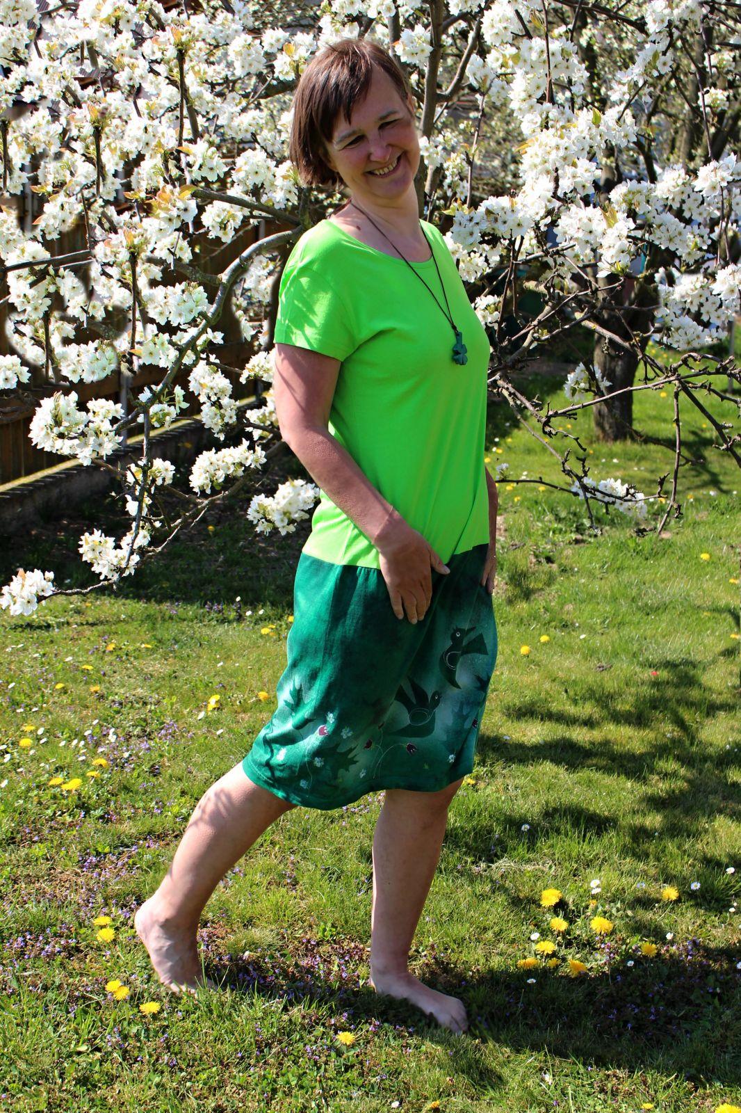 Malované batikované šáty - Ptačí raj Batitex - malovaná, batikovaná trička, šaty, mikiny, šátky, šály, kravaty