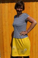 Malované, batikované šaty - Slunečné pohlazení