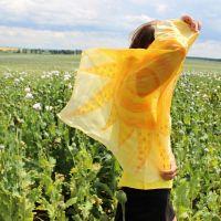 Hedvábný šátek - Mé slunce 2 Batitex - malovaná, batikovaná trička, šaty, mikiny, šátky, šály, kravaty