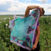 Hedvábný malovaný šátek - Paví okouzlení 2 Batitex - malovaná, batikovaná trička, šaty, mikiny, šátky, šály, kravaty