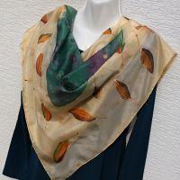 Hedvábný malovaný šátek - Podzimní klasika 2 Batitex - malovaná, batikovaná trička, šaty, mikiny, šátky, šály, kravaty