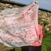 Hedvábný malovaný šátek - Poezie něžnosti 2
