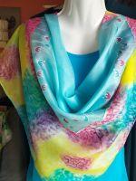 Hedvábný malovaný šátek 2v1 - Nebeský slunečný kočár  2