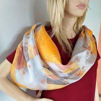 Hedvábný malovaný šátek - Karamel se skořicí 2