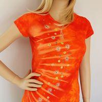 Dámské batikované  a malované tričko - Záblesk jara | velikost S, velikost M, velikost L, velikost XL, velikost 2XL