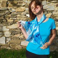 Hedvábná malovaná šála - Andělská tónina 2 Batitex - malovaná, batikovaná trička, šaty, mikiny, šátky, šály, kravaty