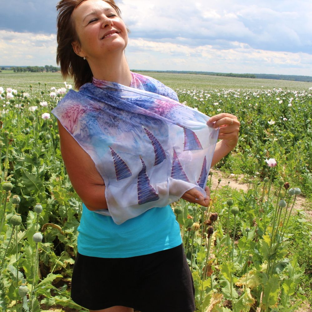 Hedvábná malovaná šála - Sněhové bouře Batitex - modní trička, mikiny, šátky, šály, kravaty