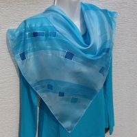 Hedvábný malovaný šátek - Andělská tónina Batitex - malovaná, batikovaná trička, šaty, mikiny, šátky, šály, kravaty