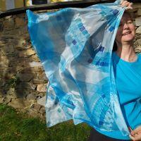 Hedvábný malovaný šátek - Andělská tónina 2 Batitex - malovaná, batikovaná trička, šaty, mikiny, šátky, šály, kravaty