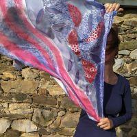Hedvábný malovaný šátek - Balada o podzimu 2 Batitex - malovaná, batikovaná trička, šaty, mikiny, šátky, šály, kravaty