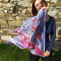 Hedvábný malovaný šátek - Balada o podzimu