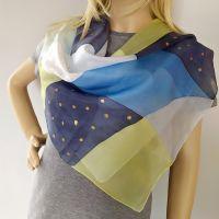 Hedvábný malovaný šátek - Hvězdná rozšáda