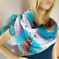 Hedvábný malovaný šátek - Na viděnou....