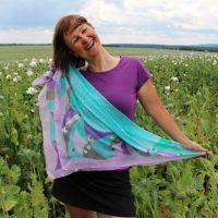 Hedvábný šátek - Paví okouzlení